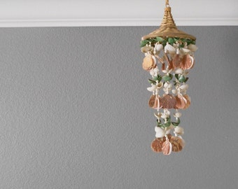 vintage natural sea shell wind chime mobile / seashell chandelier / ocean beach house decor