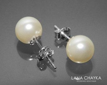 Wedding Ivory Pearl Earrings Swarovski 8mm Pearl Sterling Silver Earrings Pearl Stud Wedding Earrings Bridal Pearl Jewelry FREE US Shipping