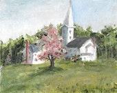 Original acrylic landscape painting  8x10 Old white church Liebenzell Mission Schooleys Mountain