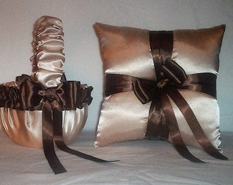 Champagne Satin With Brown Trim Flower Girl Basket And Ring Bearer Pillow