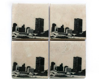 Toledo Skyline Coaster Set (4 Stone Coasters, Black & White) Cityscape Home Decor