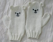 Polar bear winter animal mittens,luxuriously soft wool,bamboo,silk. Slightly shorter than medium female adult Kawaii