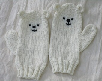 Polar bear winter animal mittens,luxuriously soft wool,bamboo,silk. Slightly shorter than medium female adult Kawaii