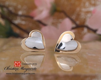 Sterling Silver and 14KYellow Gold Heart Post Earrings