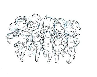 Super Sorority: Original Inks, Batgirl, Supergirl, Wonder Woman, girl power, superhero, strong females