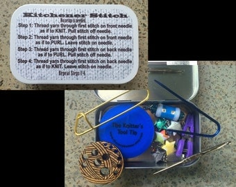 Knitter's Tool Tin - How to Kitchener - Knit kit tin with knitting and notions for your WIP bag!