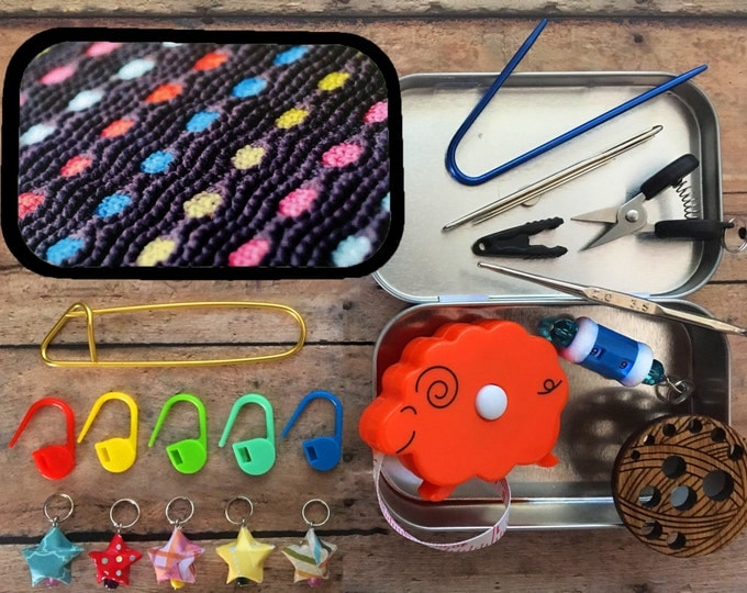 Knitter's Tool Tin - Pigment: mini knitting notions, stitch markers, needle gauge, row counter, crochet hook & scissors!