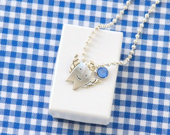 Lost Tooth Charm Necklace, Tooth Fairy Gift, Tooth Charm Necklace for Kids in Sapphire Blue