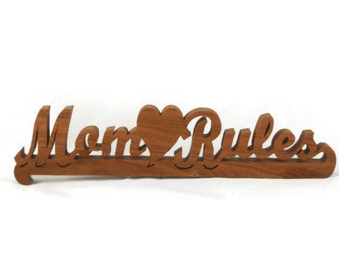 Wood Mom Rules Word-art And Heart Decor Shelf Sitter Handmade from Cherry Wood