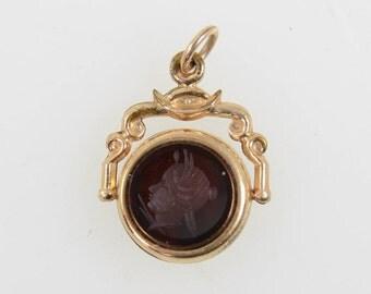 Victorian Gold Filled Spinner Fob Intaglio Greek Head Carnelian & Bloodstone T1X
