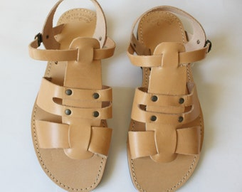 Greek sandals/mens leather sandals/fisherman