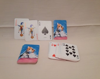 Kitty Themed Playing Cards Pink and Blue Paper Ephemera Collectibles Crafts Card Games