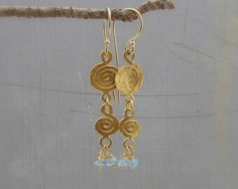 22k Gold Earrings - 22 karat gold and Apatite Earrings - Spirals Gold Earrings