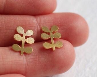 Gold Leaf Earrings ... Stud Post Sprig