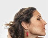 Red Earrings, Coral Earrings, Modern Coral Earrings