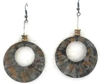 Rustic Recycled Disks Earrings