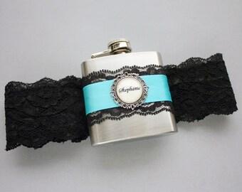 Wedding GARTER FLASK, Black & Diamond Blue, Black Lace Garter with Flask, Custom Garter; Flask Garter, Bride, Bridesmaids, Bachelorette Gift