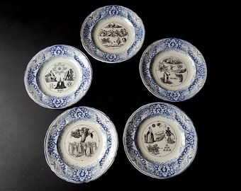 5 French Antique Rebus Plates Set of 5 Dessert Plates Late 1800s