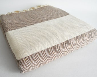 SALE 30 OFF / Herringbone Blanket / Brown / Double Size / Bedcover, Beach blanket, Sofa throw, Traditional, Tablecloth
