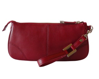 Talbots Candy Apple Red Leather Clutch Wristlet Organizer