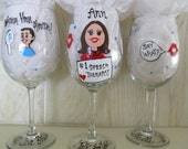 Speech Therapist  Pathologist Painted Wine Glass SLP  Therapy Personalized Health Care
