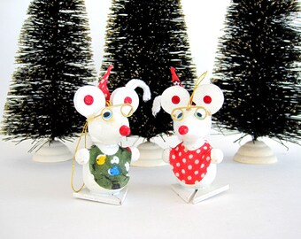 Vintage Wooden Ornament Wood Mice Mouse Set Kitsch Christmas Decor Pipe Cleaner Tails Cute Polka Dot Fabric