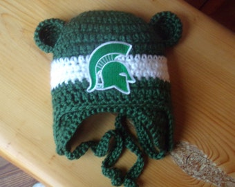 Michigan State University  Baby hat for Newborn to 18 months - Spartan team colors