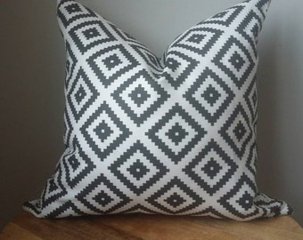 Tribal diamond aztec small scale fabric ethnic black white linen blend pillow cover euro sham 16 18 20 22 24 26 cushion toss throw lumbar