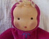 RESERVED FOR LAUREN Small Sweet Pea Waldorf Doll 9 inch Fuchsia Velour