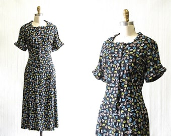 Vintage 1950's Novelty Print Dress | Hand Made Dress with Fun Print | Rockabilly, Swing, Day Dress | Size Large