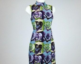 90's XOXO Rose Photo Print Floral Mod High Neck A-Line Mini Dress // L