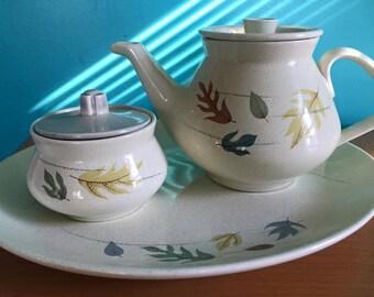Franciscan autumn leaves teapot, platter, sugar bowl