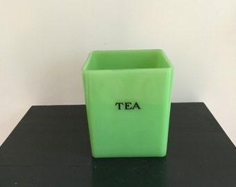 Jade Jadite Green Glass Tea Canister Jeanette Glass Company