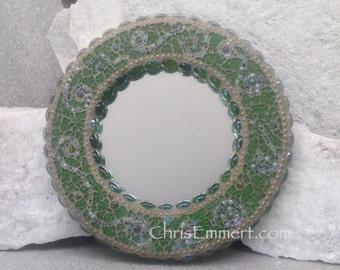 Green Mosaic Mirror, Round Mosaic Mirror, Home Decor, Greens and Gold Mirror, Teen Decor
