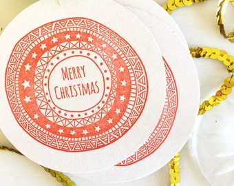 Christmas Coasters - Christmas Decorations - Red Christmas Decorations - Christmas Table Decorations - Christmas Party Supplies