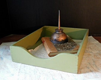 Vintage Moss Green Wood File Box / In Out Box / Storage Box / Office Storage / Studio