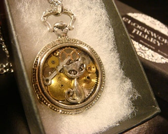 Clockwork Cat Steampunk Pocket Watch Pendant Necklace -Made with Real Watch Parts (2156)