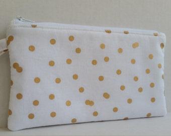 Pencil Pouch - Gold Pencil Case - Gold Polka Dots - Pencil Pouch - Handmade Pouch - Pencil Bag - Fabric Pouch