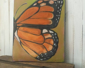 Butterfly painting/ wings/ monarch / free  /hand painted/ original painting/  farm wood/ distressed finish