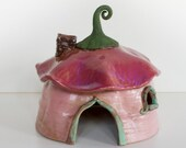 Pink Poppy Stoneware Garden Home for Toads Fairies Gnomes Hobbits Handbuilt Stoneware Gift Gardener Outdoor Home Patio Lake Cabin Deck Porch