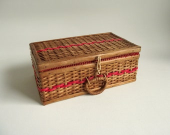 Wicker Sewing Basket , Vintage Bacon Basketware , Czechoslovakia Woven Wicker Basket , Vintage Storage Basket