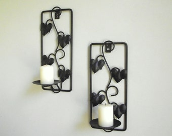 Metal Candle Sconces , Vintage Pair of Black Metal Wall Sconces , Metal Ivy Leaf Candle Holders , Rustic Woodland Decor