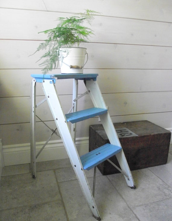 Metal Step Ladder  Folding Metal Step Stool Blue and White Industrial Decor  Painters Step Ladder  Side Table  Repurposed Vintage & Metal Step Ladder Folding Metal Step Stool Blue and White islam-shia.org
