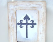 Cross Antiqued Mirror Vintage Style Shabby Chic Ivory Christ Christian God Religion Jesus French Country