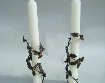 Vintage Holly Leaf Candle Wraps Table Top Christmas Home Decor Bronze Metal Dinner Winter Holiday