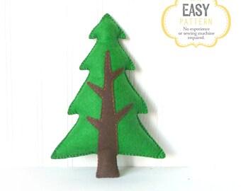 Woodland Pine Tree Hand Sewing Pattern, Felt Woodland Tree Pattern, Plush Tree Softie DIY, Woodland Decor, Instant Download PDF