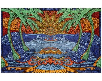 3D Epic Palm Tree Sun Wave Psychedelic Island Beach Tapestry Tablecloth Wall Art Huge 60x90 Inches