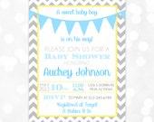 Baby Boy Shower Invitation Gray Chevron Blue Yellow Pennant Bunting Banner DIY Printable Invite PDF Baby Shower Invitation Boy (#145)