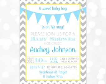 Baby Boy Shower Invitation Gray Chevron Blue Yellow Pennant Bunting Banner DIY Printable Invite PDF Baby Shower Invitation Boy (#145)