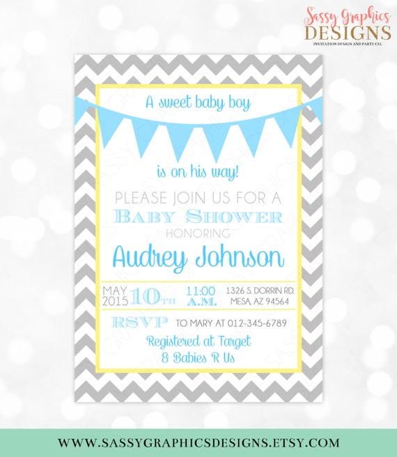 Baby boy shower invitation gray chevron blue yellow pennant bunting il570xn filmwisefo